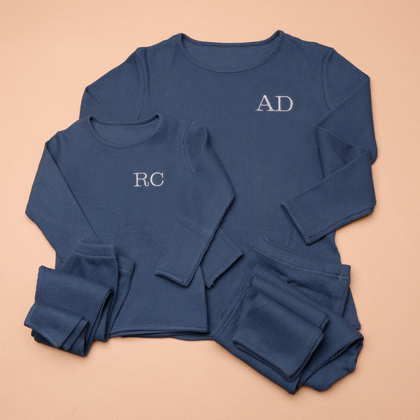 Personalised Matching Embroidered Midnight Blue Loungewear