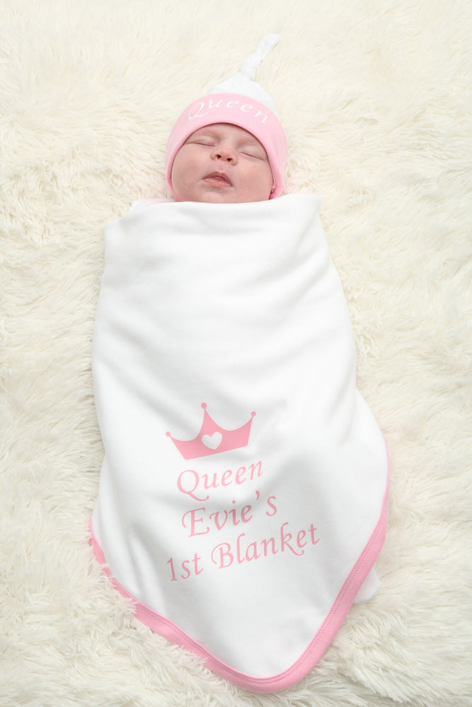 Personalised Pink My 1st Blanket and Hat Set