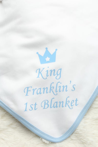 Personalised Blue My 1st Blanket - Mini Kings & Queens