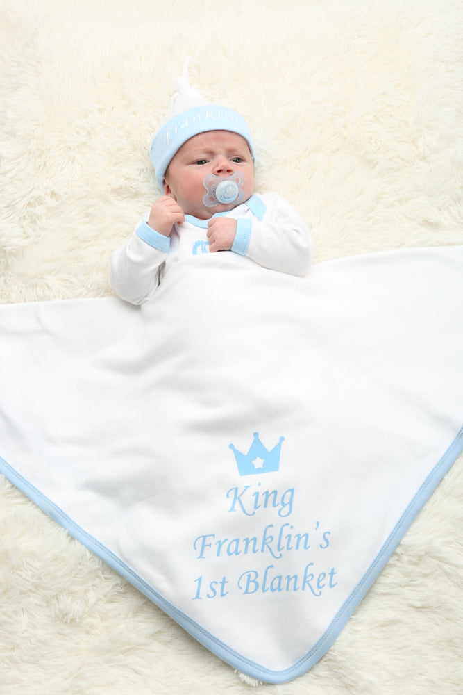Personalised Blue My 1st Blanket and Hat Set