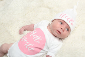 Pink Hello World Baby Vest and Hat Set - Mini Kings & Queens