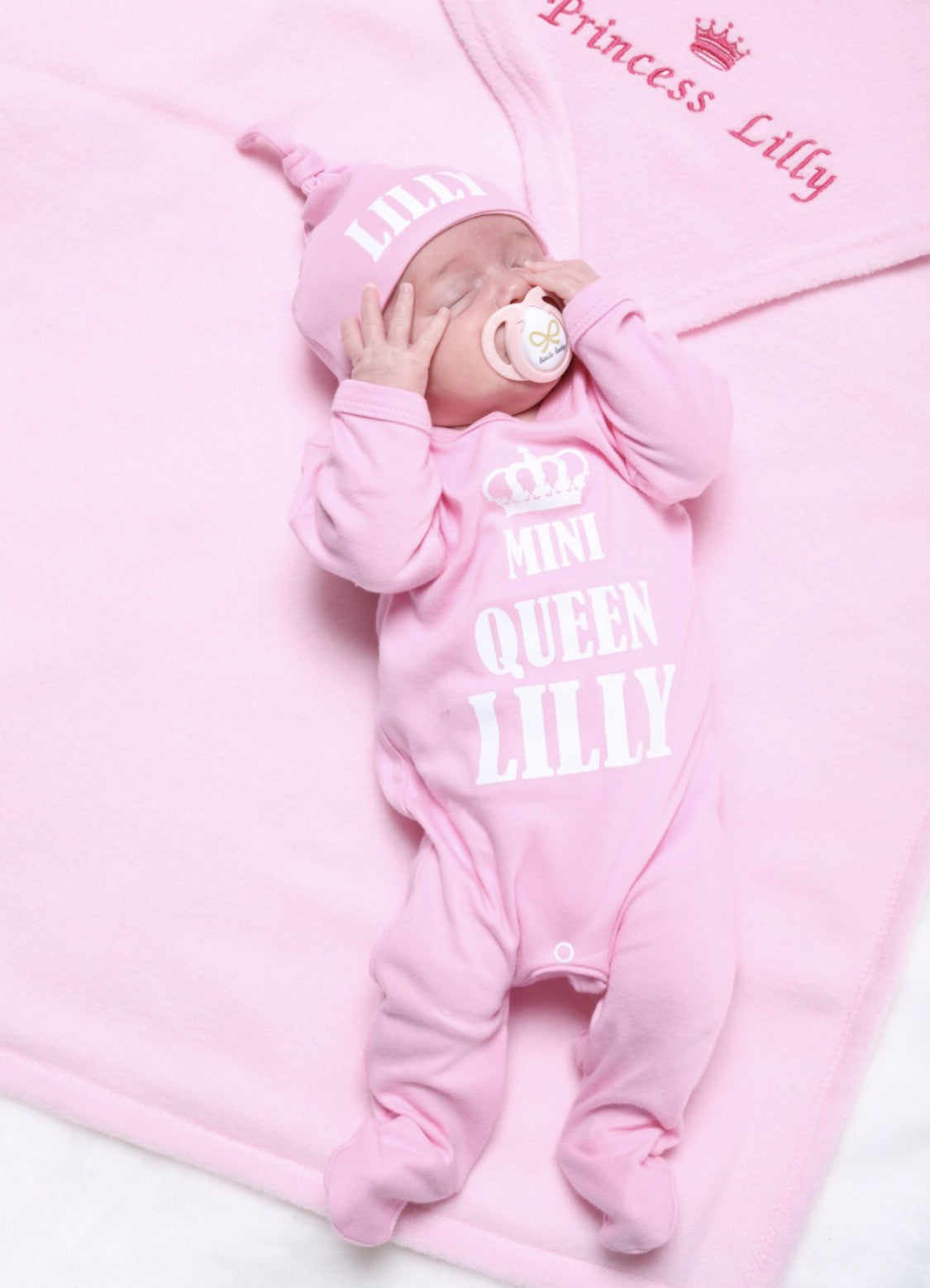 Personalised Mini Queen Babygrow And Hat Set Mini Kings Queens