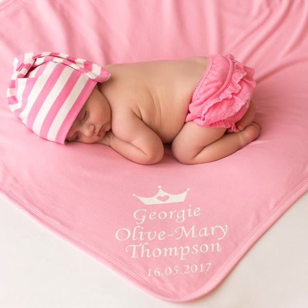 Personalised Pink D.O.B Blanket - Mini Kings & Queens