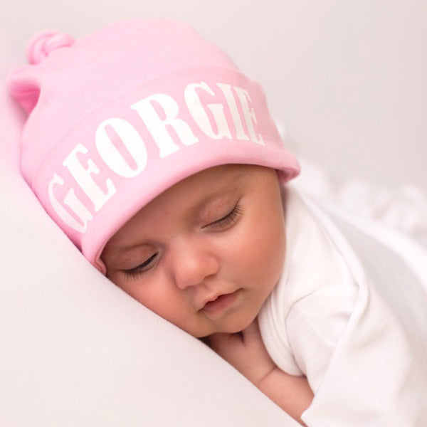 Pink Personalised Baby Hat - Mini Kings & Queens