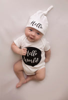 Unisex Hello World Baby Vest and Hat Set - Mini Kings & Queens