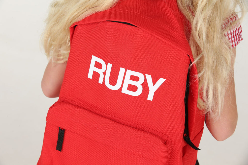Personalised Red School Backpack