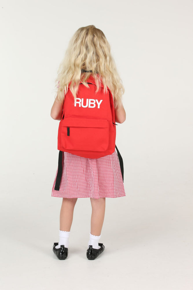 Personalised Red School Backpack - Mini Kings & Queens