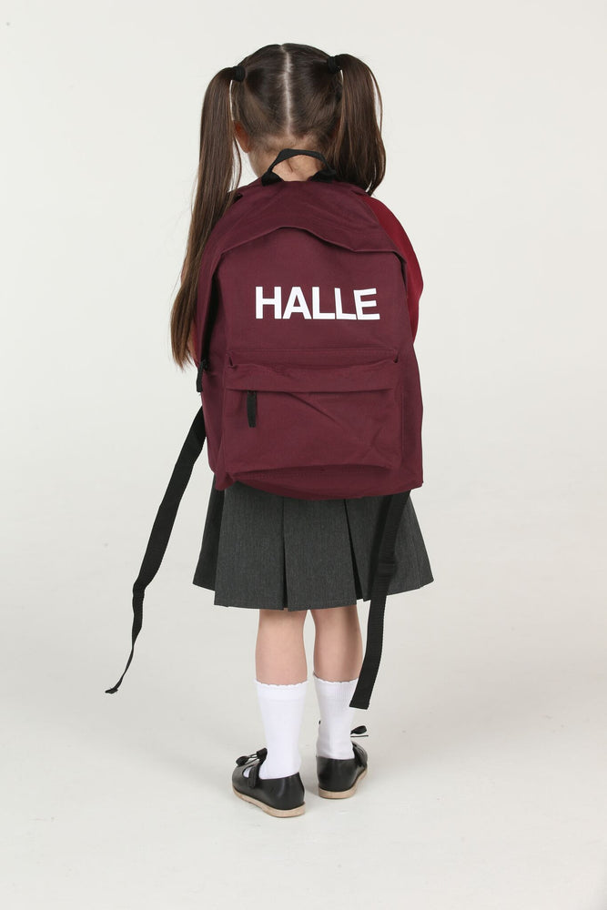 Personalised Burgundy School Backpack