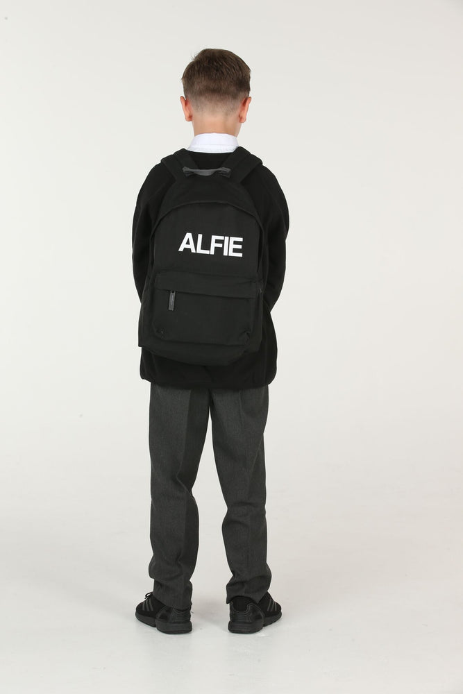 Personalised Black School Backpack