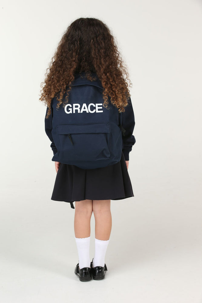 Personalised Navy School Backpack