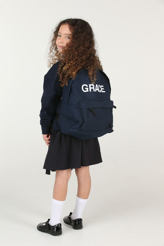 Personalised Navy School Backpack - Mini Kings & Queens