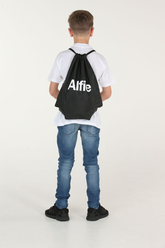 Personalised Black Drawstring Bag