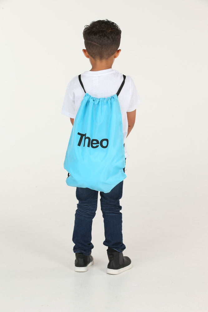 Personalised Surf Blue Drawstring Bag