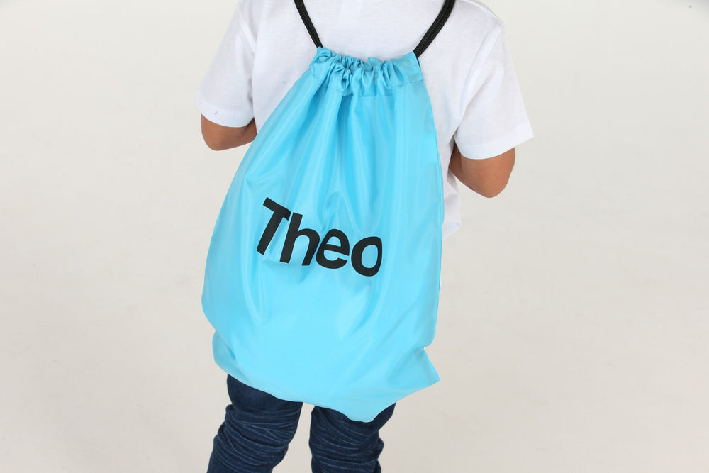 Personalised Surf Blue Drawstring Bag - Mini Kings & Queens
