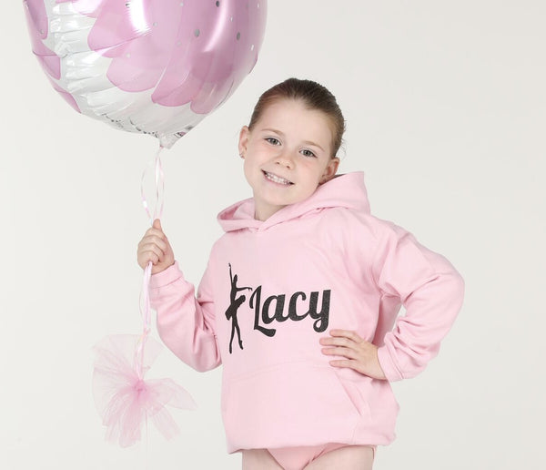 Personalised Baby Pink Ballerina Hoodie - Mini Kings & Queens