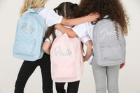 Personalised Glitter Baby Blue Mini Backpack - Mini Kings & Queens