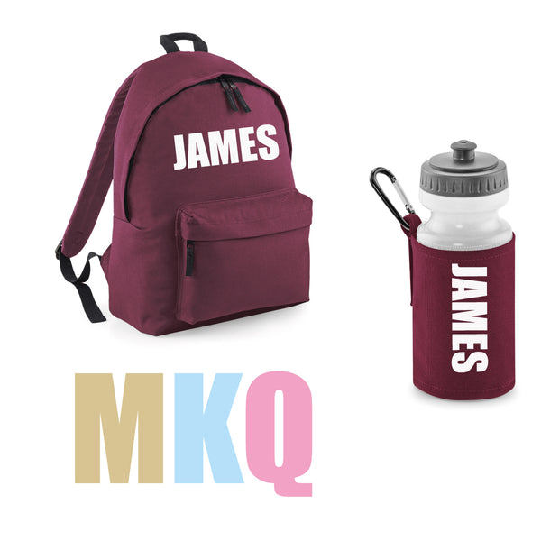 Personalised Junior School Backpack and Water Bottle Set