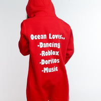 Personalised Red Favourite Things Onesie - Mini Kings & Queens