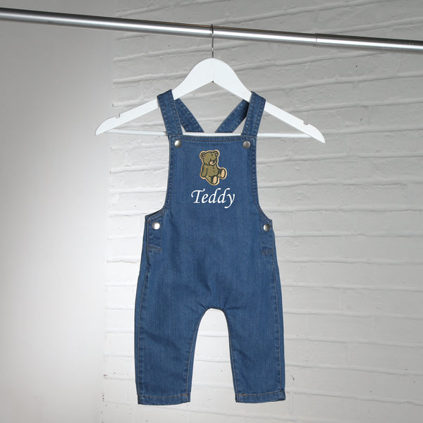 Personalised Embroidered Teddy Bear Denim Dungarees