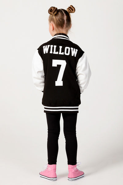 Personalised Black Varsity Jacket - Mini Kings & Queens