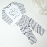Personalised Be Brave Little Warrior Grey Striped Pyjamas