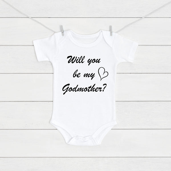 Will You Be My Godmother Baby Vest - Mini Kings & Queens