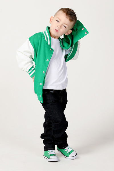 Personalised Kelly Green Varsity Jacket - Mini Kings & Queens