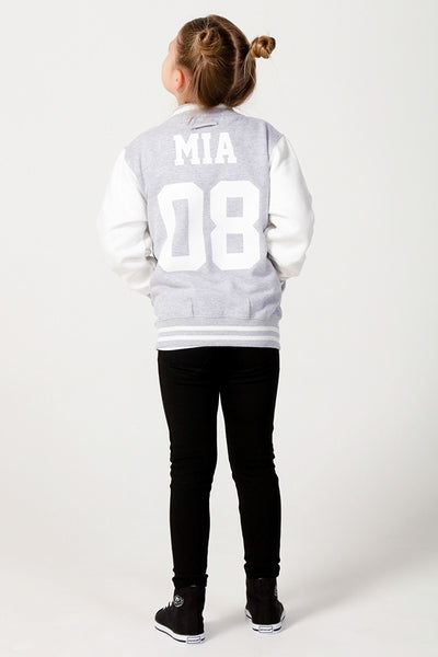 Personalised Grey Varsity Jacket - Mini Kings & Queens