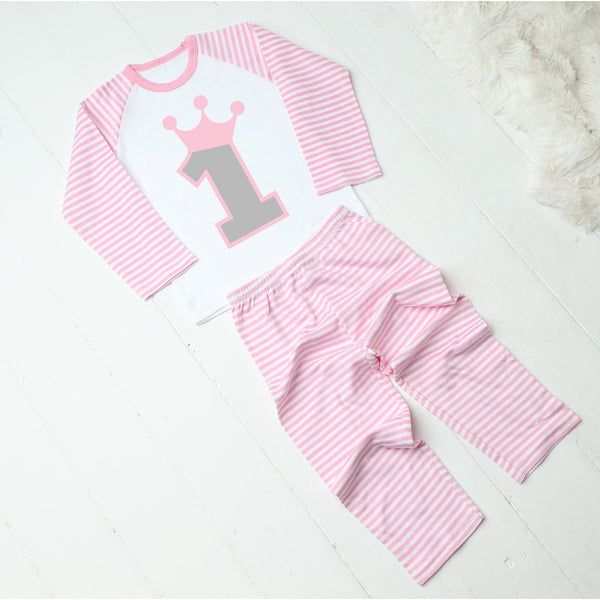 Personalised Pink and White Striped Number Birthday Pyjamas