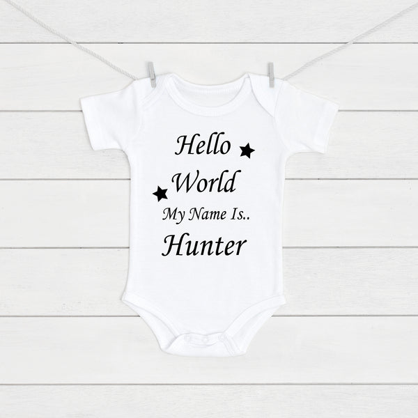 Personalised Hello World My Name Is Baby Vest - Mini Kings & Queens