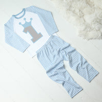 Personalised Blue and White Striped Number Birthday Pyjamas