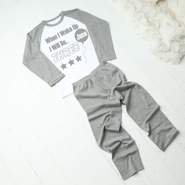 Personalised When I Wake Up Grey Birthday Pyjamas
