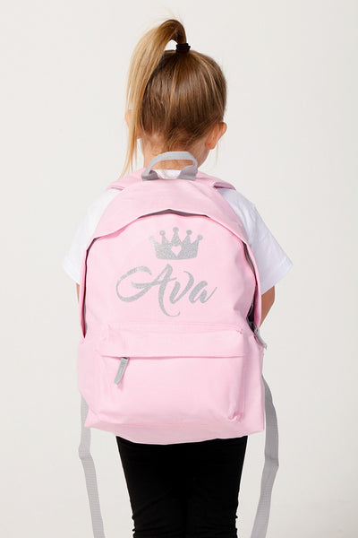 Personalised Glitter Backpack Baby Pink - Mini Kings & Queens