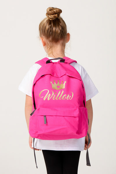 Personalised Hot Pink Glitter Backpack - Mini Kings & Queens