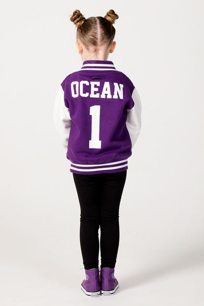 Personalised Purple Varsity Jacket - Mini Kings & Queens