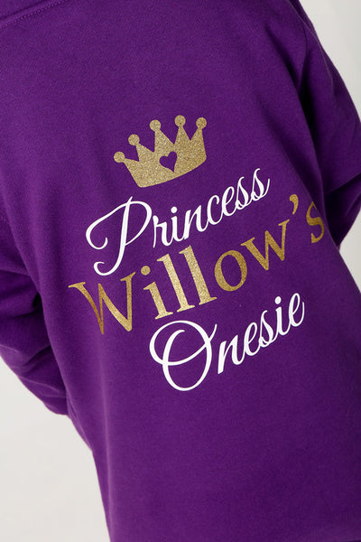 Purple  Princess Onesie 3-4y - 13y - Mini Kings & Queens