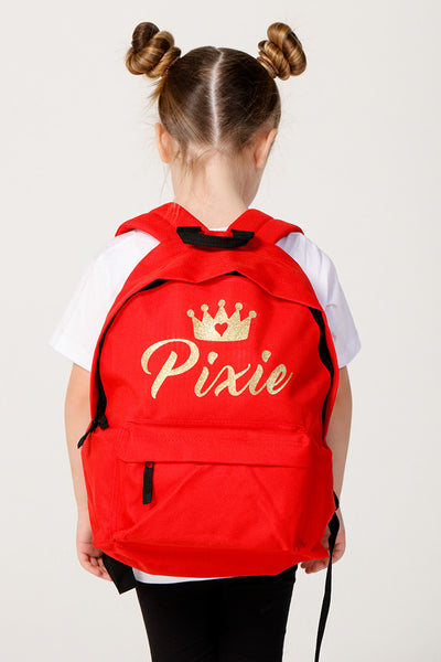Personalised Red Glitter Backpack - Mini Kings & Queens
