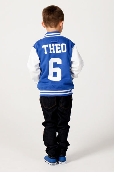 Personalised Royal Blue Varsity Jacket - Mini Kings & Queens