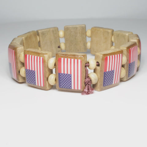 All American Flag Wood Bracelet 2-pack