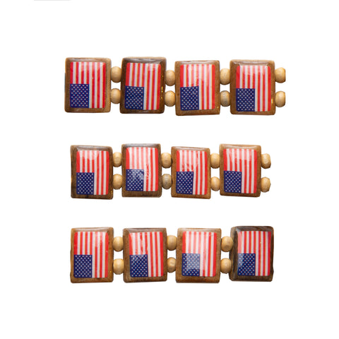 All American Flag Wood Bracelet 2-pack-Wrist Story Products-Light Wood 12 Tile Bracelet (2-pack)-Wrist Story Products