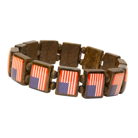 All American Flag Wood Bracelet 2-pack-Wrist Story Products-Dark Wood 14 Tile Bracelet (2-pack)-Wrist Story Products