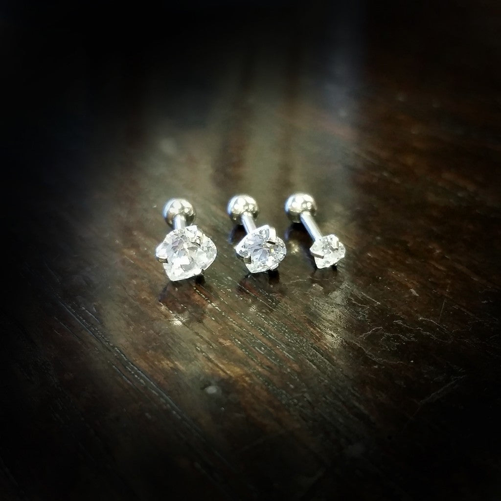 Set of 3 Heart Gems for Ear/Cartilage - XSN - Your Shopping Network