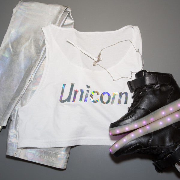 UNICORN HOLOGRAM CROP TEE - XSN - Your Shopping Network
