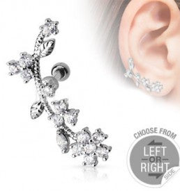 Flower Vine with CZ Gems - XSN - Your Shopping Network