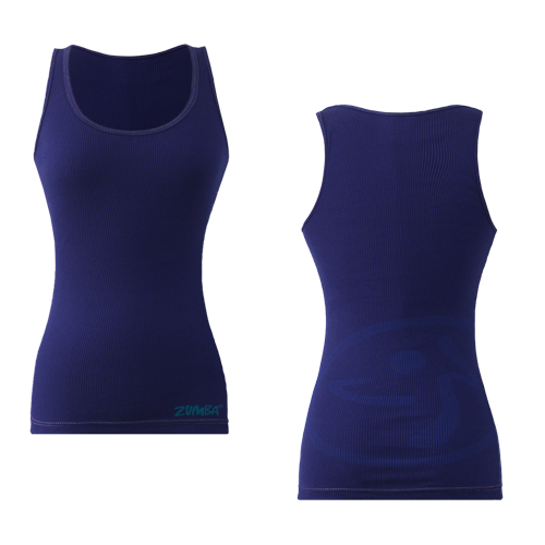 Zumba Fitness Faded Ribbed Tank Top - Navy (CLOSEOUT)