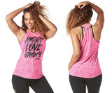 Zumba Fitness Amour Love Amore High Neck Tank - Shocking Pink