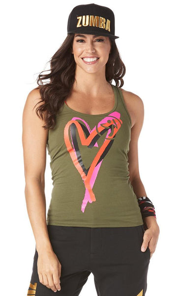 Zumba Fitness Be About Love Racerback - Army Green