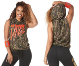 Zumba Fitness Be About Love Sleeveless Hoodie - Army Green