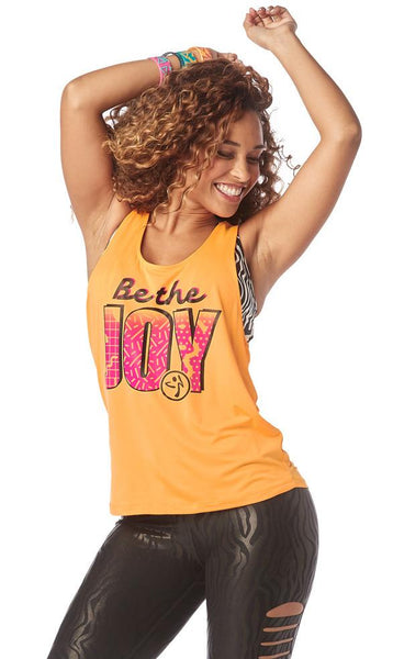Zumba Fitness Be The Joy Loose Tank - Oh Orange