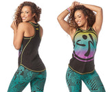 Zumba Fitness Happiness High Neck Tank - Bold Black